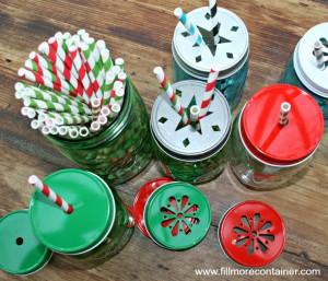 Top Christmas Straws Lids Jars
